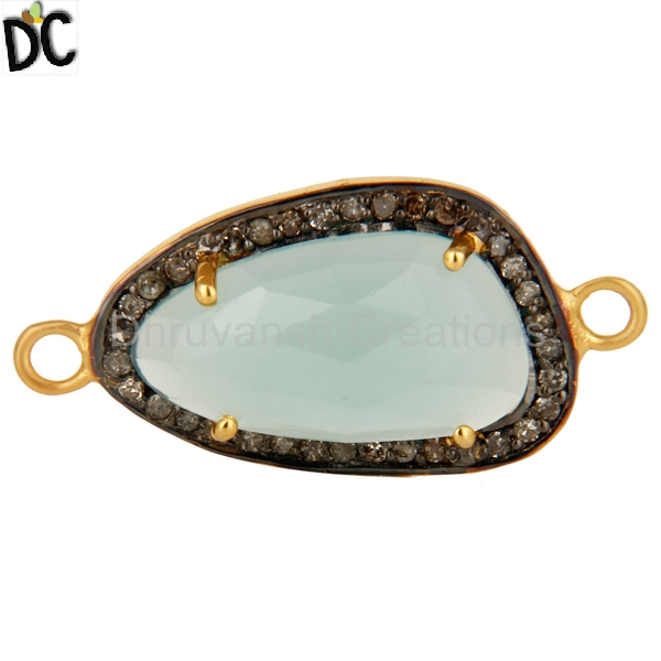 Aqua Chalcedony Gemstone Pave Diamond Connector Gold Plated 925 Silver Connector Jewelry Manufacturer