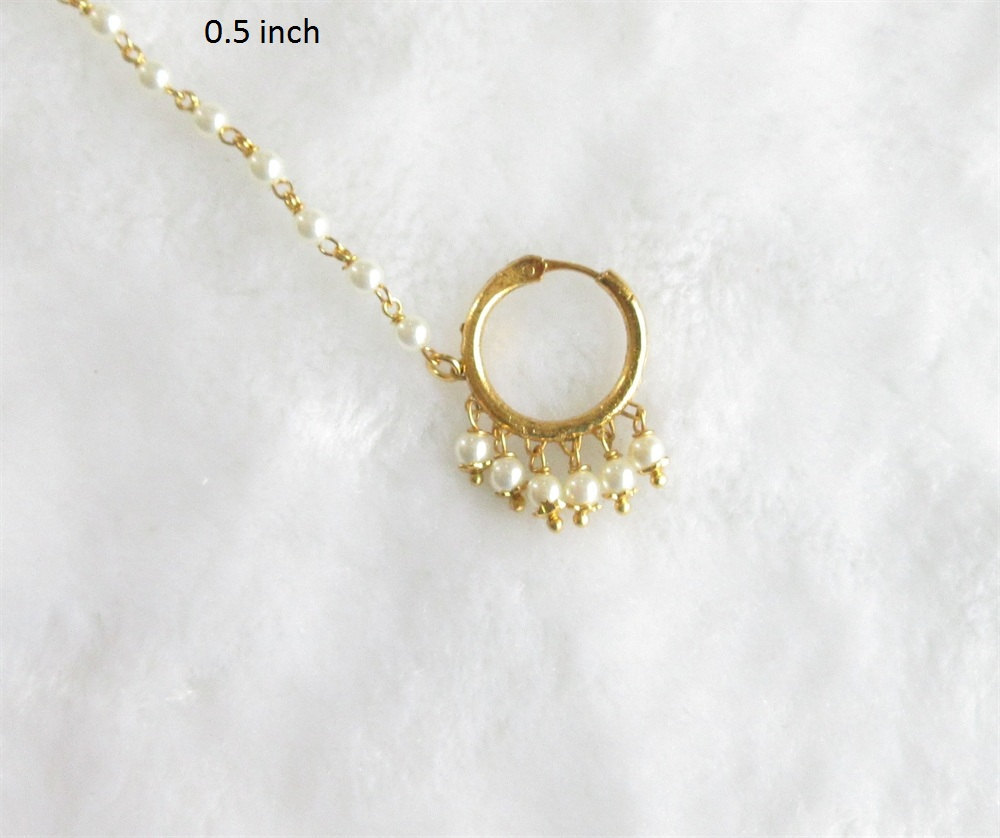 Wedding Gold Pearl Nose Ring Chain Hoop For Pierced Nose
