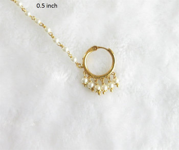 Wedding Gold Pearl Nose Ring Chain Hoop For Pierced Nose Indian Bridal Nose Nath Buy Nose Ring Gold Nose Ring Plain Nose Ring Product On Alibaba Com