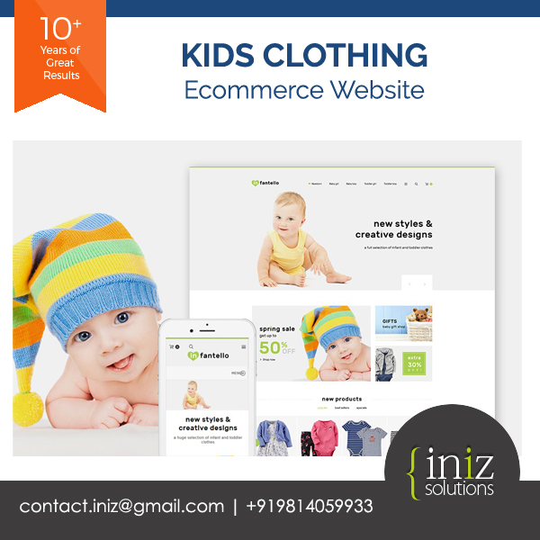 kids clothes, toys, accessories ecommerce b2c website design and development in india