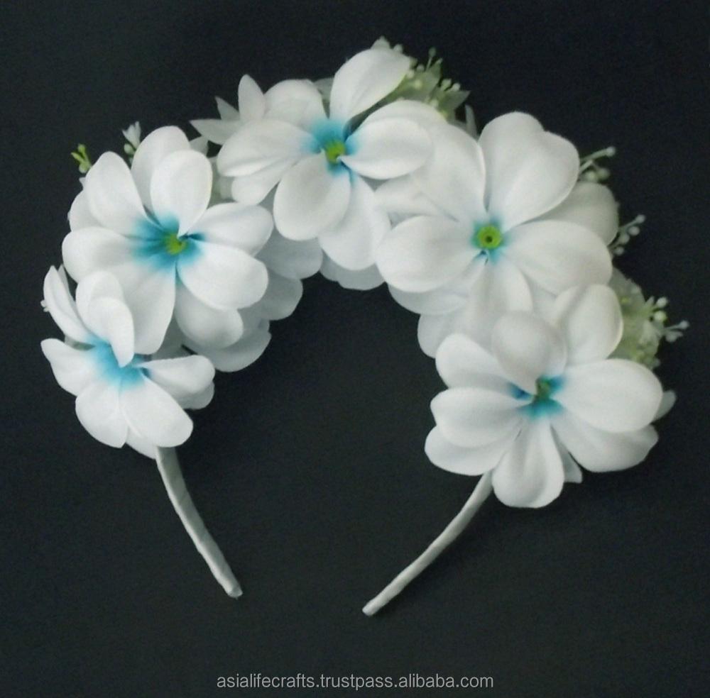 White Blue Plumeria Headband Hawaiian Flower Crown Buy White