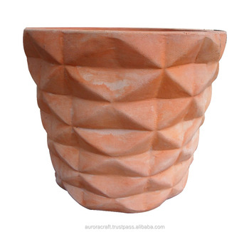 Beautiful Round Red Terracotta Garden Pots, Handmade Pottery In Vietnam