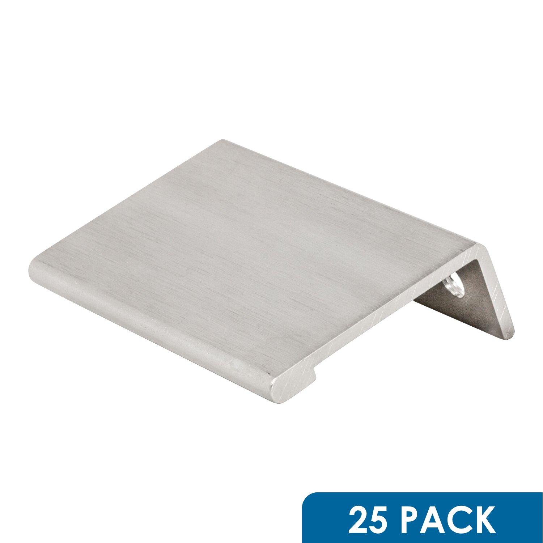 "25 Pack Rok Hardware 31/32"" (25 mm) Modern Style Finger Edge Pull 1-9/16"" (40 mm) Length Aluminum Metal Brushed Stainless Steel Finish Home Kitchen Door Drawer Cabinet Handle"