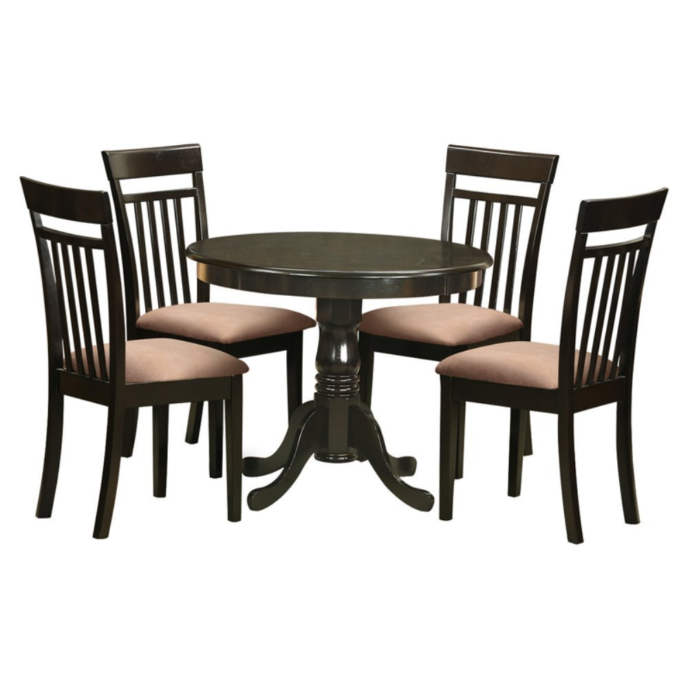 East West Furniture Antique 5 Piece Pedestal Round Dining Table Set with Capri Microfiber Seat Chairs