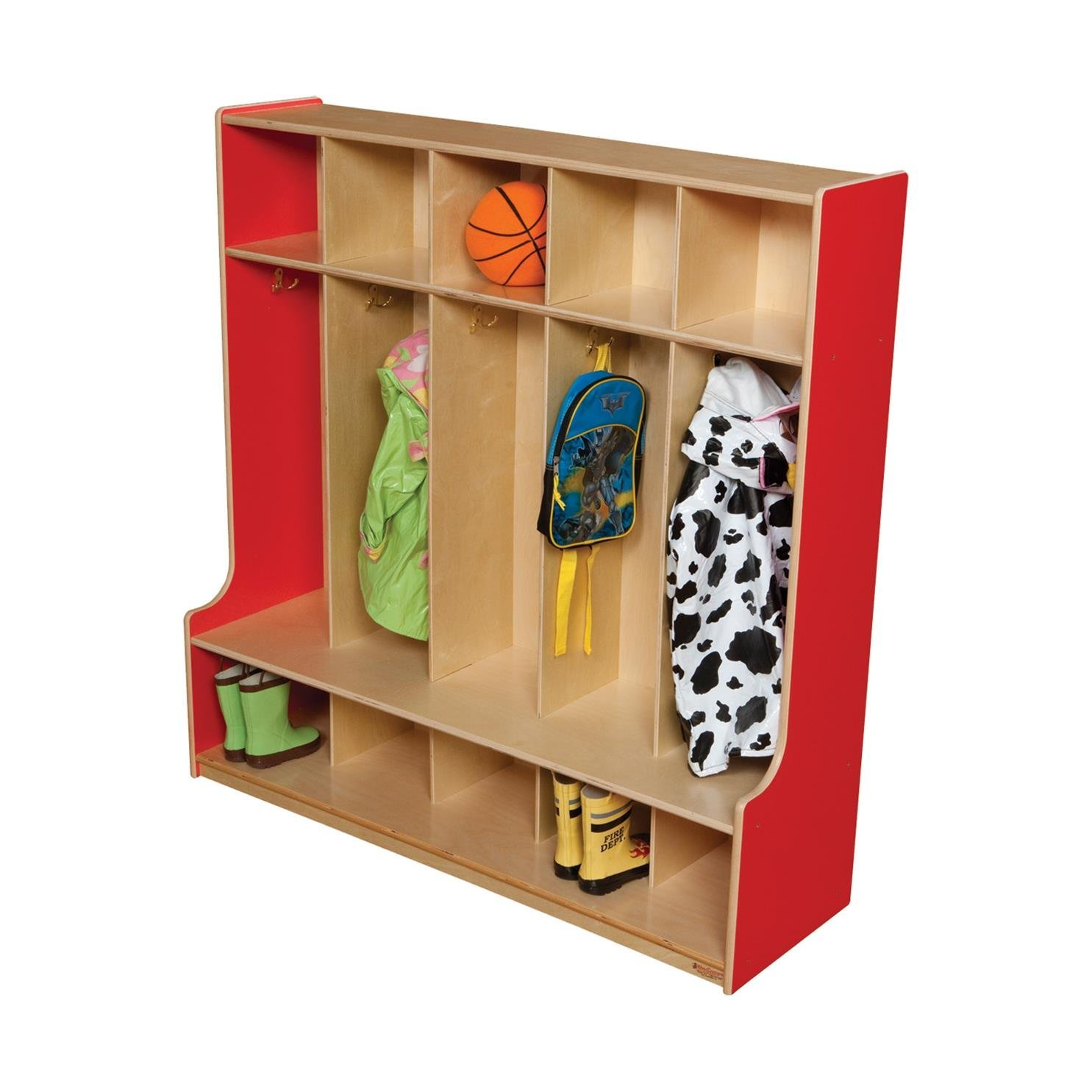 "Wood Designs 51000R Strawberry Red 5 Section Seat Locker, 49"" Height, 18.5"" Width, 51"" Length"