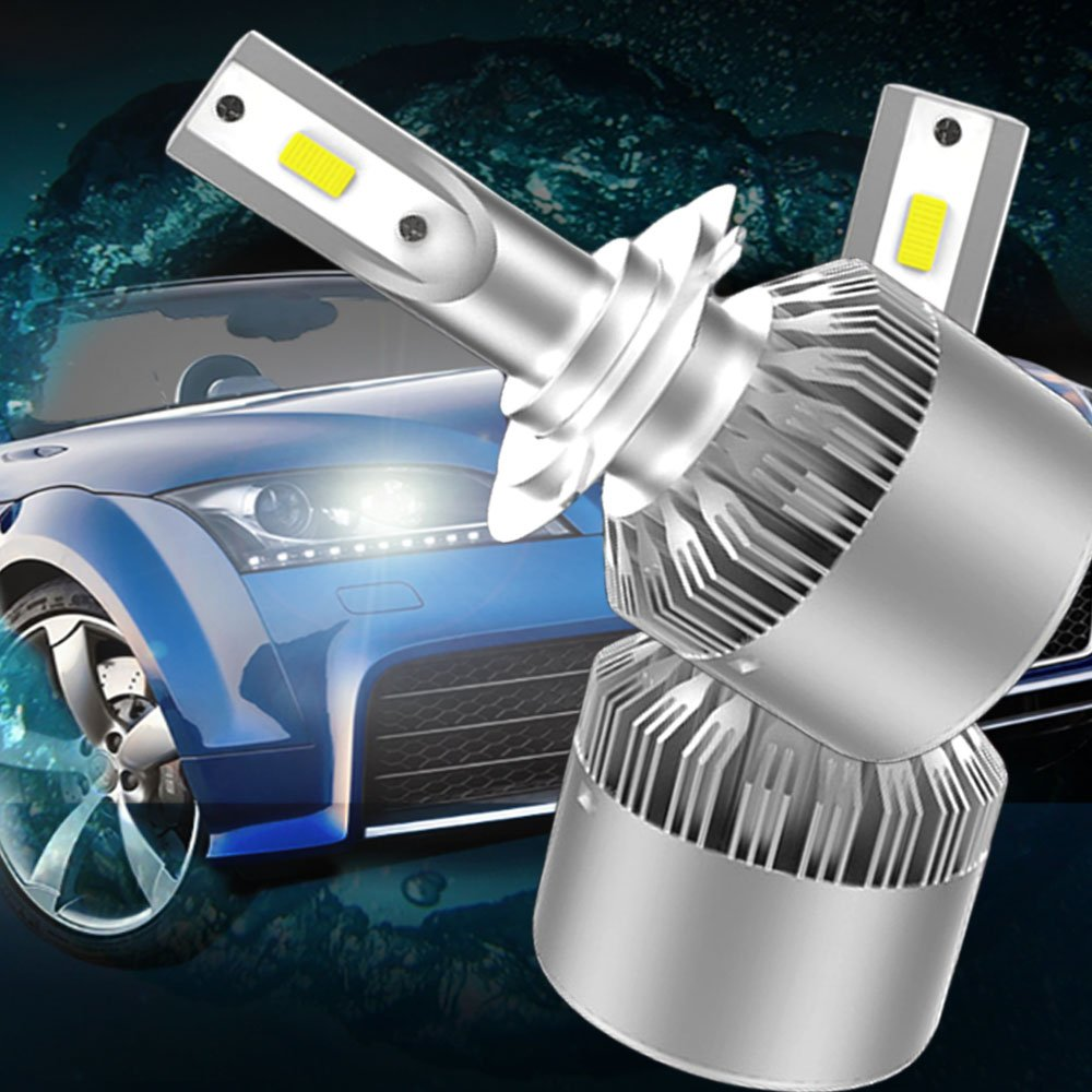 VKOSHA Led Headlight Bulbs, H7 Headlamps Conversion Kits, All-in-One Automobile Lamp Replacement with Advanced COB Chips, Waterproof 72W 6000K Cool White Light 2pcs (One Set)- 1Year Warranty