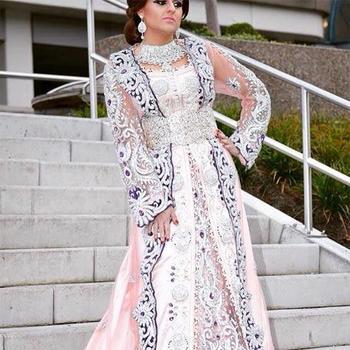 Crystals Work Wedding Designer Moroccan Bridal Kaftan 2017 Beaded Crystalswork