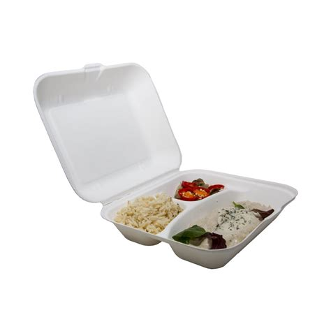 EcoChoice 3 Compartment Biodegradable Compostable Bagasse Pulp Meal Box