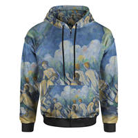 SFI High Quality customized Cezanne Bathers Art Painting Men Zip Up Hoodie Sublimation Adult Pullover Hoodie Shirt