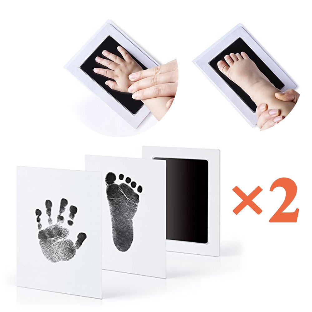 2Pcs Baby NON-TOXIC Print Ink Pad Inkless Touch 100% Safe Baby Handprint and Footprint Ink Pad +4 Paper Card, Mess Free, Keepsake Gifts for Baby