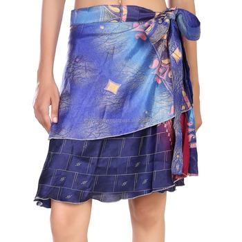2f996350f11 indian unique women 2 layered art silk sari reversible summer beach wear  magic wrap around skirts