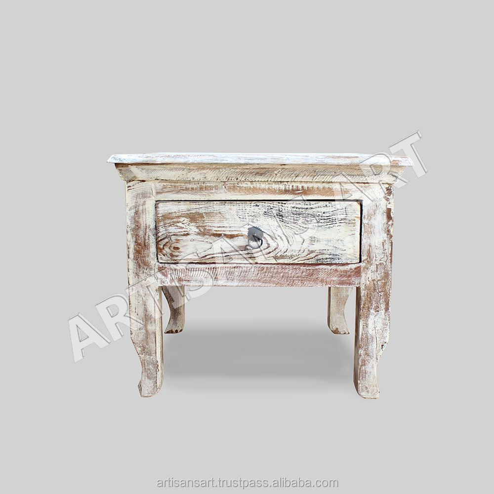 - Whitewashed Reclaimed 1 Drawers Coffee Table,Hand Finished Antique