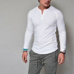 Fashion Men's Slim Fit V Neck Long Sleeve T-shirt