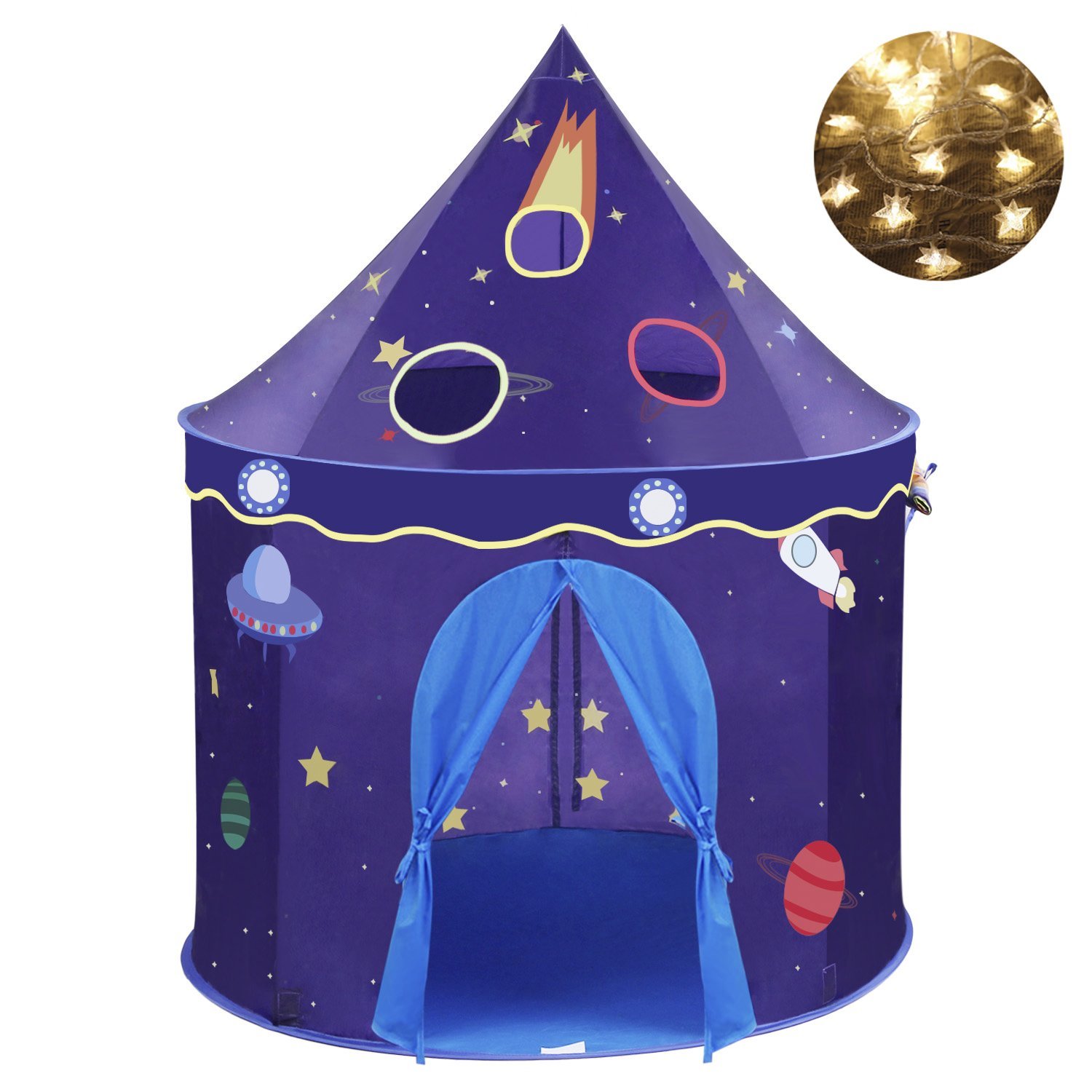 409a64fc28eb Get Quotations · Wonder Space Children Play Tent - Premium Space Rocket Castle  Pop Up Kids Playhouse