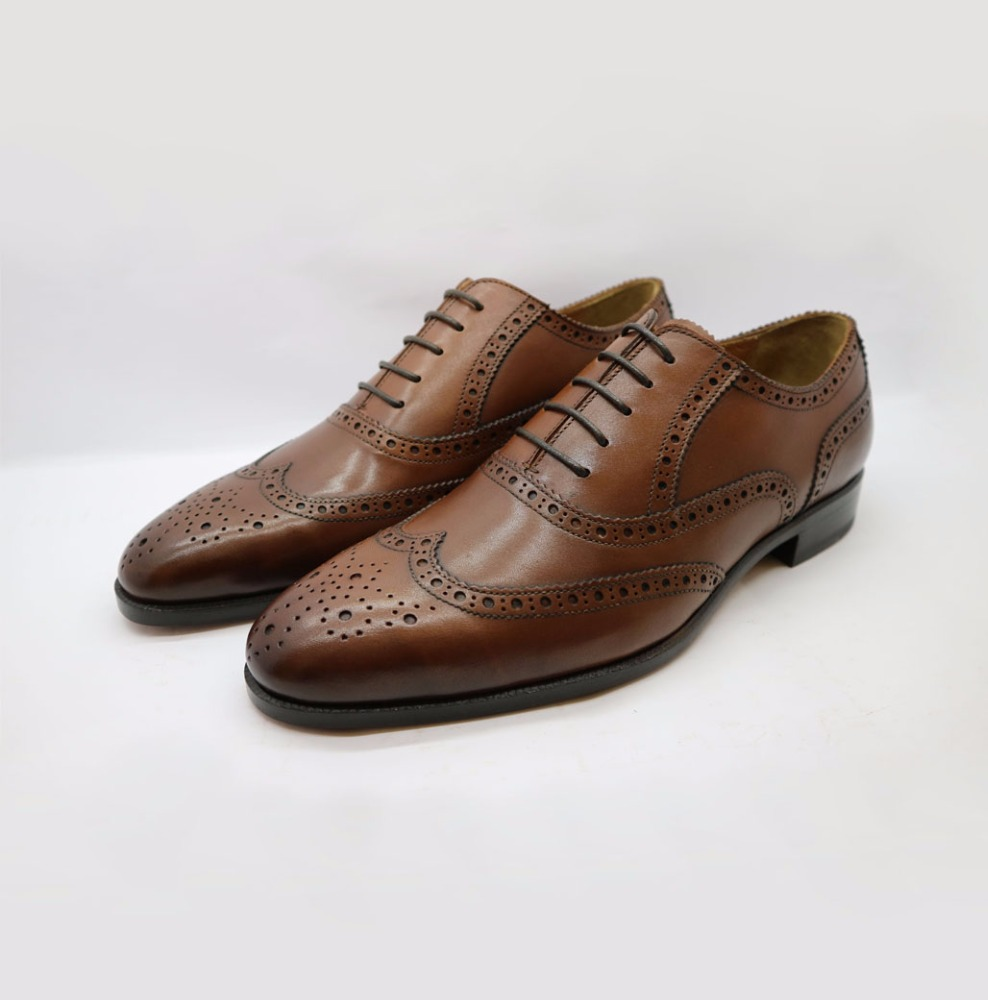 real leather cowhide men Oxfords Wing shoes tip shoes wCqpxP1X