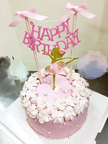1726c6e12 Get Quotations · Happy Birthday Cake Bunting Topper with Pink Bows and  Straws Gold Glitter Ballerina Cake Topper with
