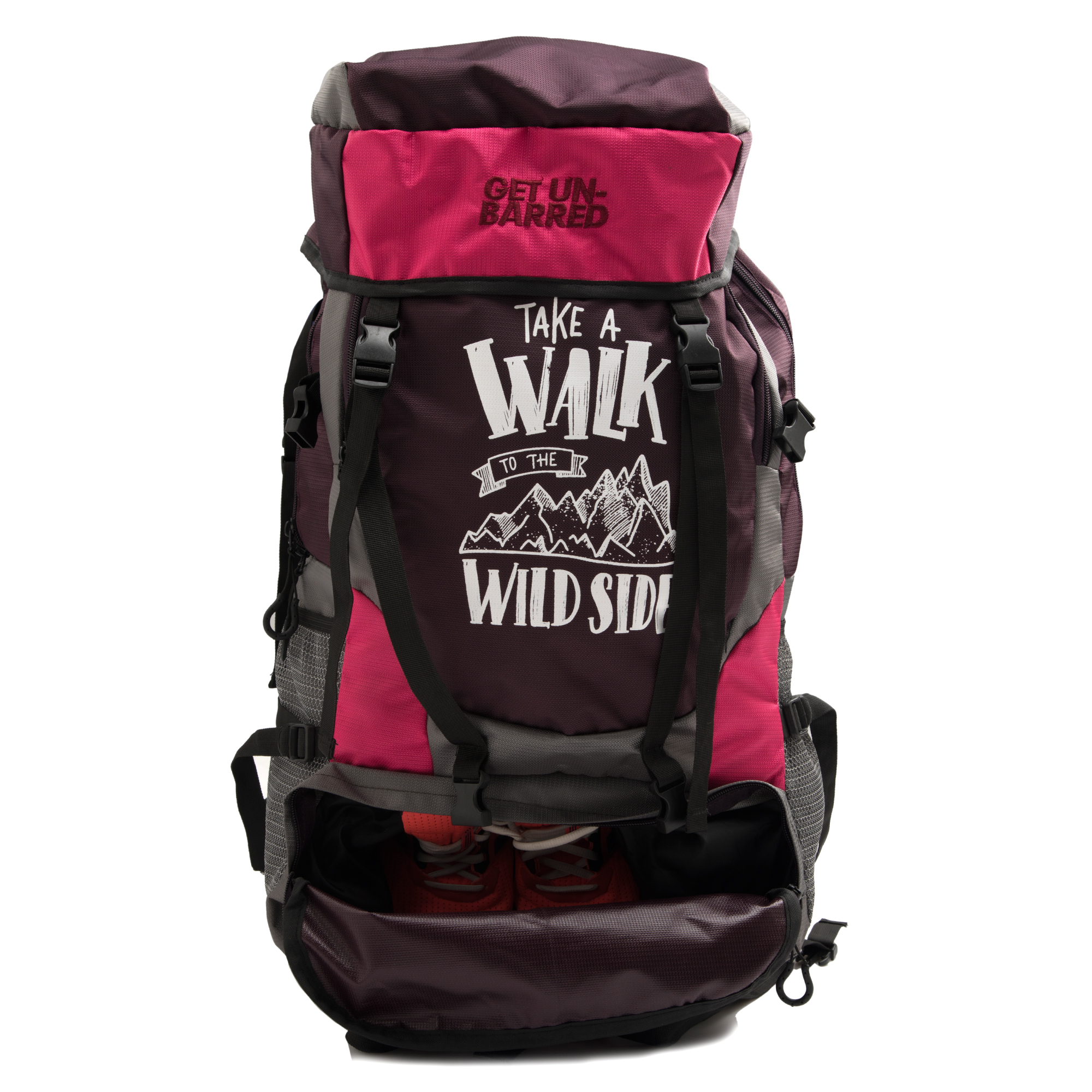 fc1e6e7a496d Get Unbarred Adventure Stylish Series 55 Ltr Large Capacity Bag For  Trekking Hiking Camping And Travel Backpack - Brown pink - Buy Hiking Sling  Bag