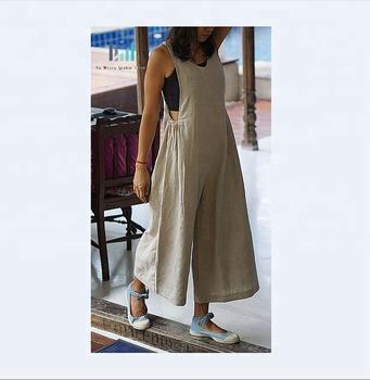 a8c94b28ff5c8b Flax Linen jumpsuit maxi dress, women long linen clothes, bohemian  oversized jumpsuit
