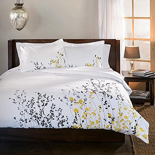 3 Piece White Modern Floral Full Queen Size Duvet Cover Set, Grey Yellow Flowers Spring Theme Bedding, Beautiful Vibrant Embroidery Color Whimsy, Trendy Gray Stylish Flower, Cotton