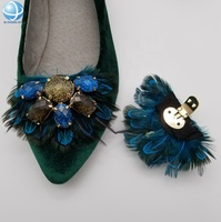 Fashion multicolor crystal Jewelry shoes feathers Decorations Shoe Clips for bridal Wedding shoes