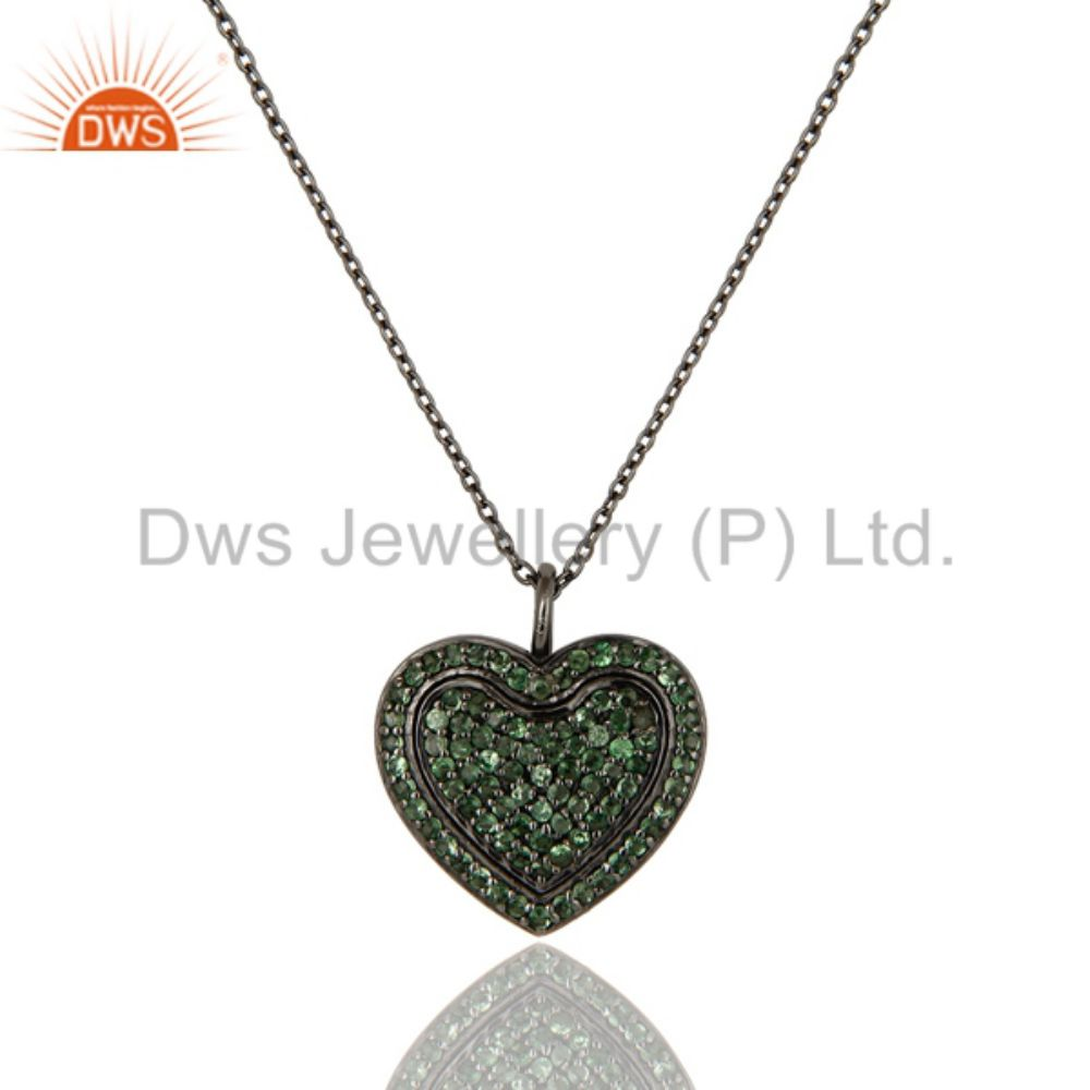 Gemstone Heart Pendant Rhodium Plated Silver Chain Pendant Jewelry Supplier