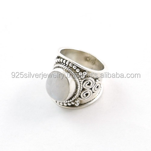 Wholesale 925 silver jewellery with rainbow moonstone cabochon ring