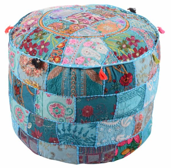 Antique furniture pouffe covers handmade art craft embroidered patchwork indian ottoman pouf