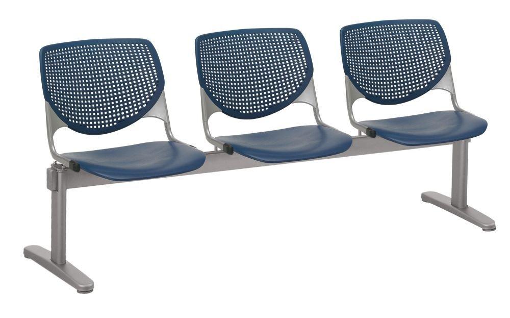 "Kool Polypropylene Three Seat Beam Seating Navy Polypropylene/Silver Frame Dimensions: 71""W x 22""D x 31""H Seat Dimensions: 18""Wx18""Dx18""H Back Dimensions: 19""Wx13.5""H Weight: 80 lbs"
