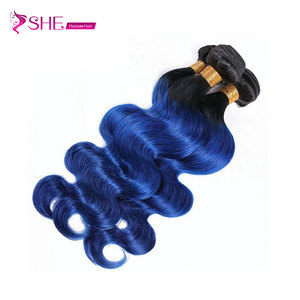 Brazilian Top Quality full cuticle 1B/Blue human hair extension two tone ombre color remy human hair weaves body wave