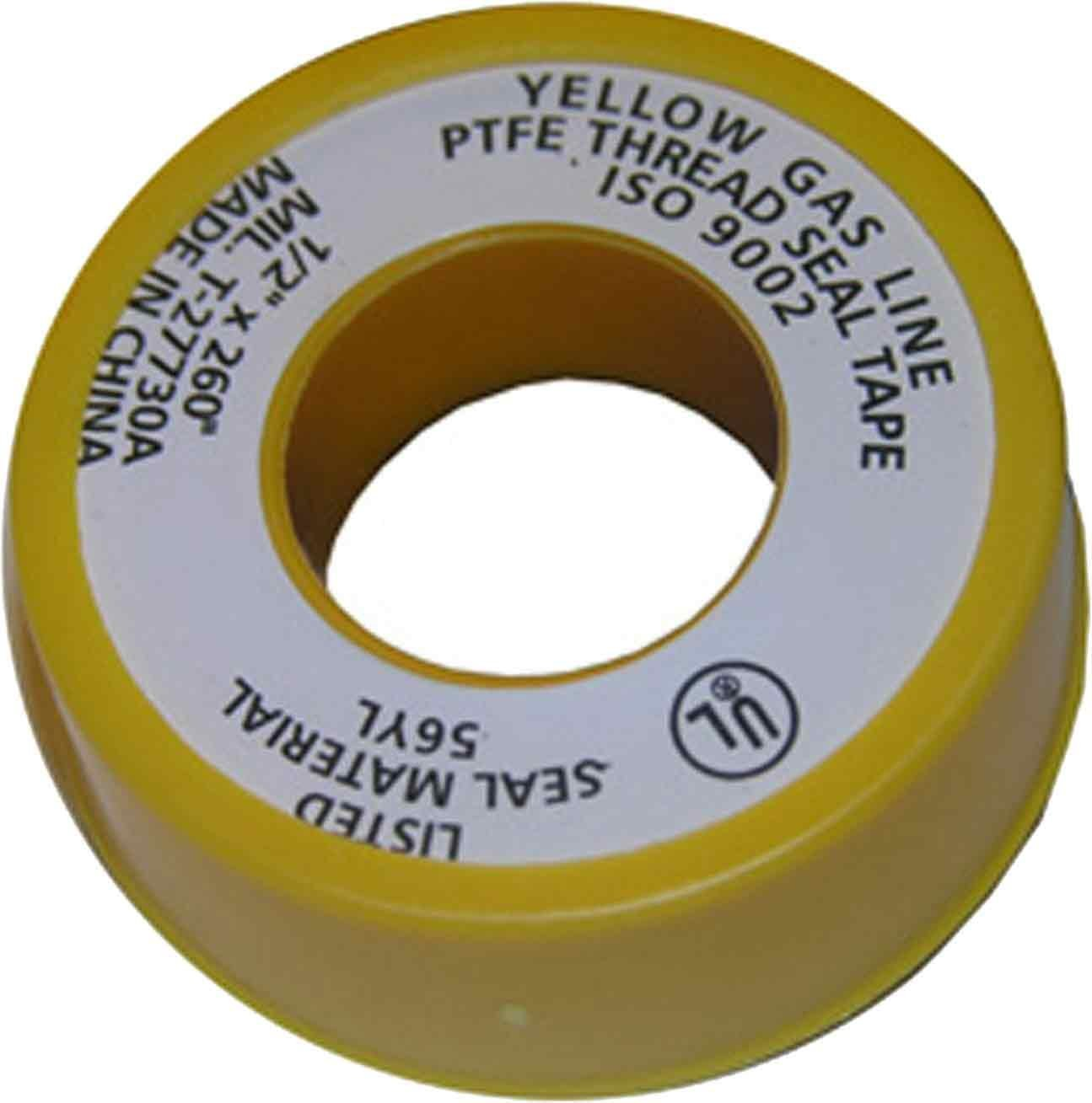 LASCO 11-1029 PTFE Extra Heavy Gas Line Pipe Sealant Tape, 1/2-Inch x 260-Inch, Yellow