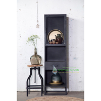 Iron Industrial Tall Glass Display Cabinet Showcase Cupboard Bookshelf Living Room Furniture