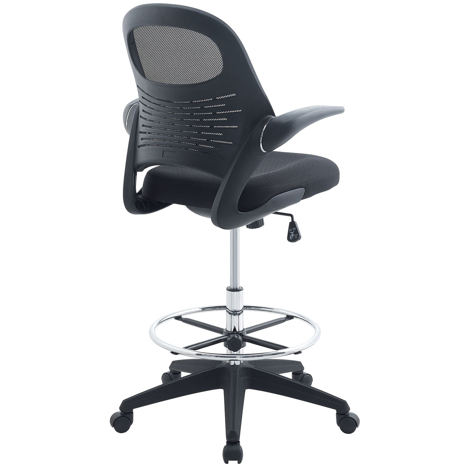 Modway Advance Drafting Chair In Black - Reception Desk Chair - Tall Office Chair For Adjustable Standing Desks - Drafting Table Chair - Flip-Up Arms