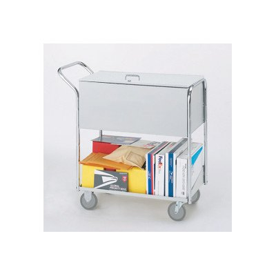 Charnstrom Security Medium Metal Cart with 5-Inch Casters and Locking Top (B281)