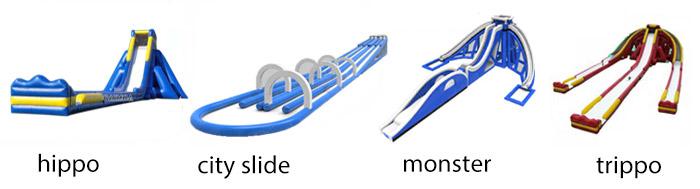 Novo design incrível maior escorregador de água inflável com deslizamento duplo n slide