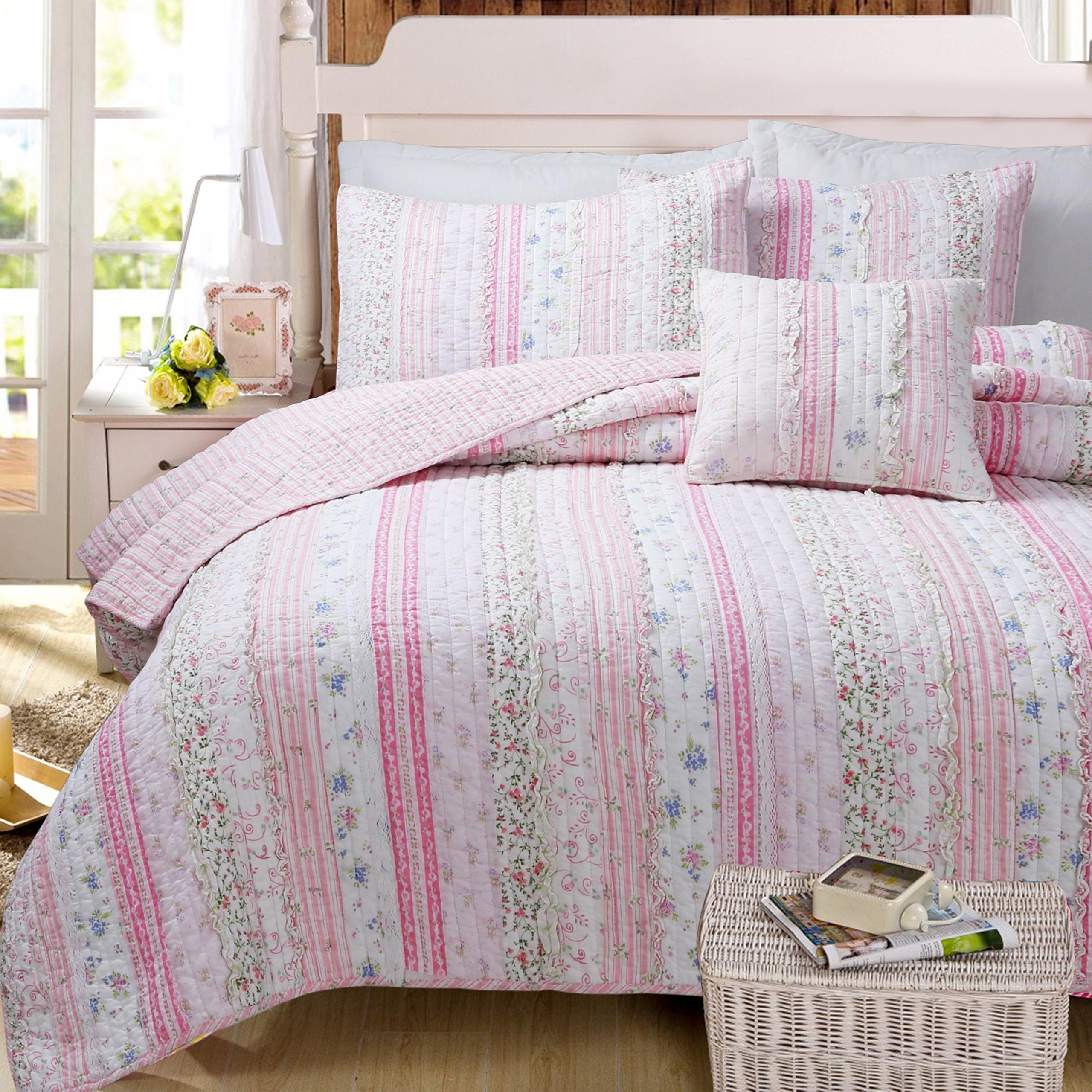 3 Piece Girls Pink Floral Stripes Pattern Quilt Queen Set, Beutiful Romantic Garden Flowers Striped Print, Bohemian Vintage Patchwork Textured Design Reversible Bedding, Splash Bright Colors, Cotton