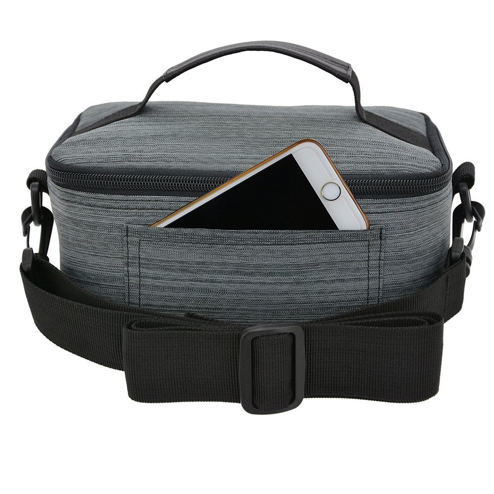 UTRO Handmade Premium Waterproof Canvas Case Bag with Detachable Shoulder Strap & Carry Handle for Samsung Gear VR, Virtual Reality Headset, and all the other brands VR Glasses 3D Glasses (Gray)