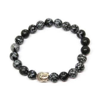 Snowflake Obsidian Buddha Bracelet