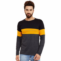 Online shopping full sleeve tshirt with striped sleeves and 100% cotton