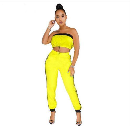 Women Off The Shoulder Stripes Crop Top Sportswear Sets