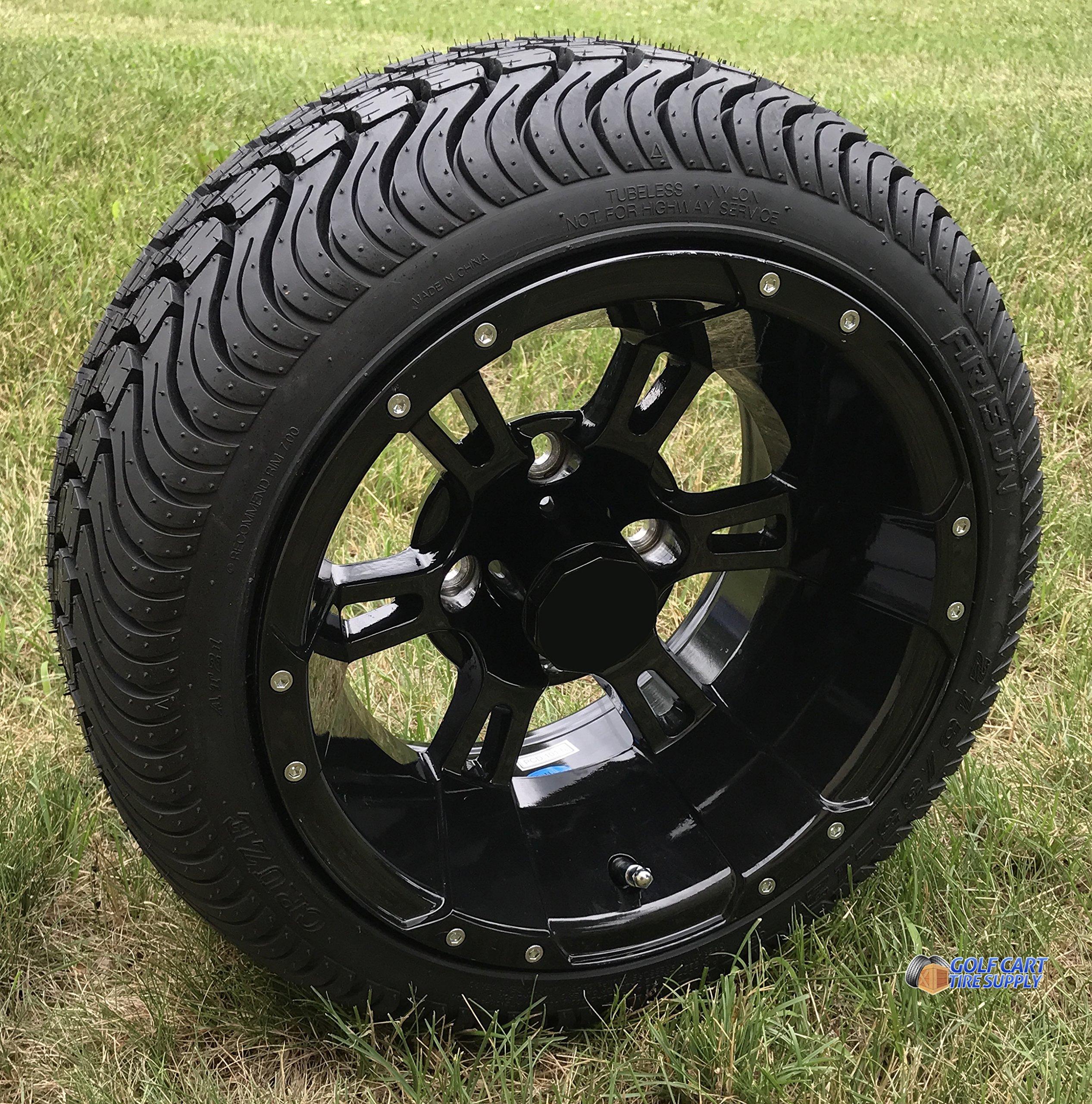 "12"" RUCKUS Gloss BLACK Wheels and 215/35-12"" DOT Low Profile Tires Combo - Set of 4 (STANDARD LUGS 1/2x20 (EZGO, Club Car))"