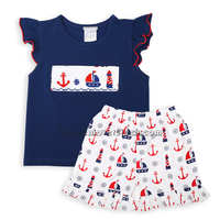 Sailboat hand smocked girl summer outfit clothing