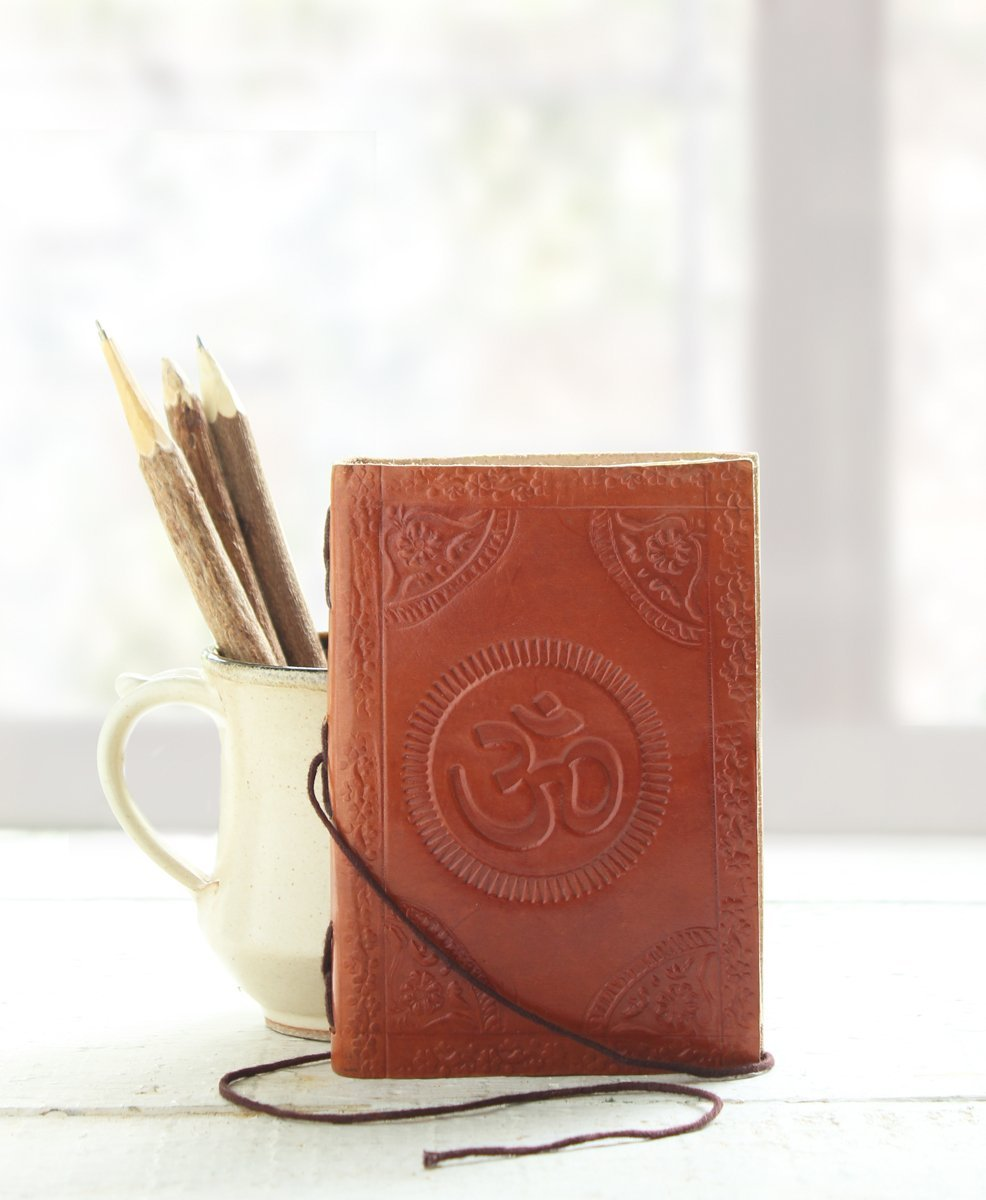 Storeindya Travel Journal/Diary Leather/Red Leather Diary/Travel Journal/Genuine Leather Journal Eco-Friendly Unlined Pages Compact Writing Journal for Men & Women (Traditional Om Collection)