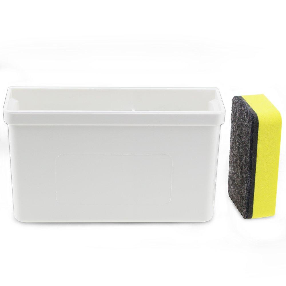 Magnetic Dry Erase Marker Holder,White Magnetic Dry Eraser Organizer Mount Tray Rack for Whiteboard,Bonus 1 pcs Magnetic Whiteboard Erasers