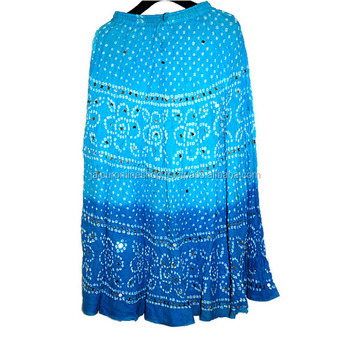 36bd7d030 Bandhani With Mirror Work Cotton Skirt - Buy Bandhej Skirt,Mirror ...