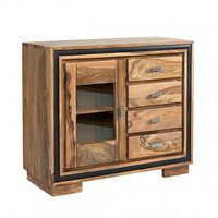 Industrial & vintage Indian old solid mango wood storage Cabinet with 4 drawer & show case