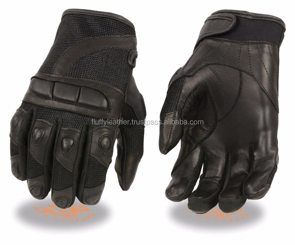 MOTORCYCLE RACING GLOVES MESH LEATHER COMBO PADDED KNUCKLE PROTECTION--MG-1100