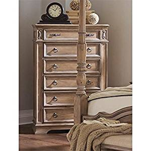 "Coaster 205075-CO Ilana Collection 40"" Chest with 6 Drawers Antique Brass Handle Hardware Grey Felt Lined Top Drawer and Pine Wood Construction, Antique Linen"