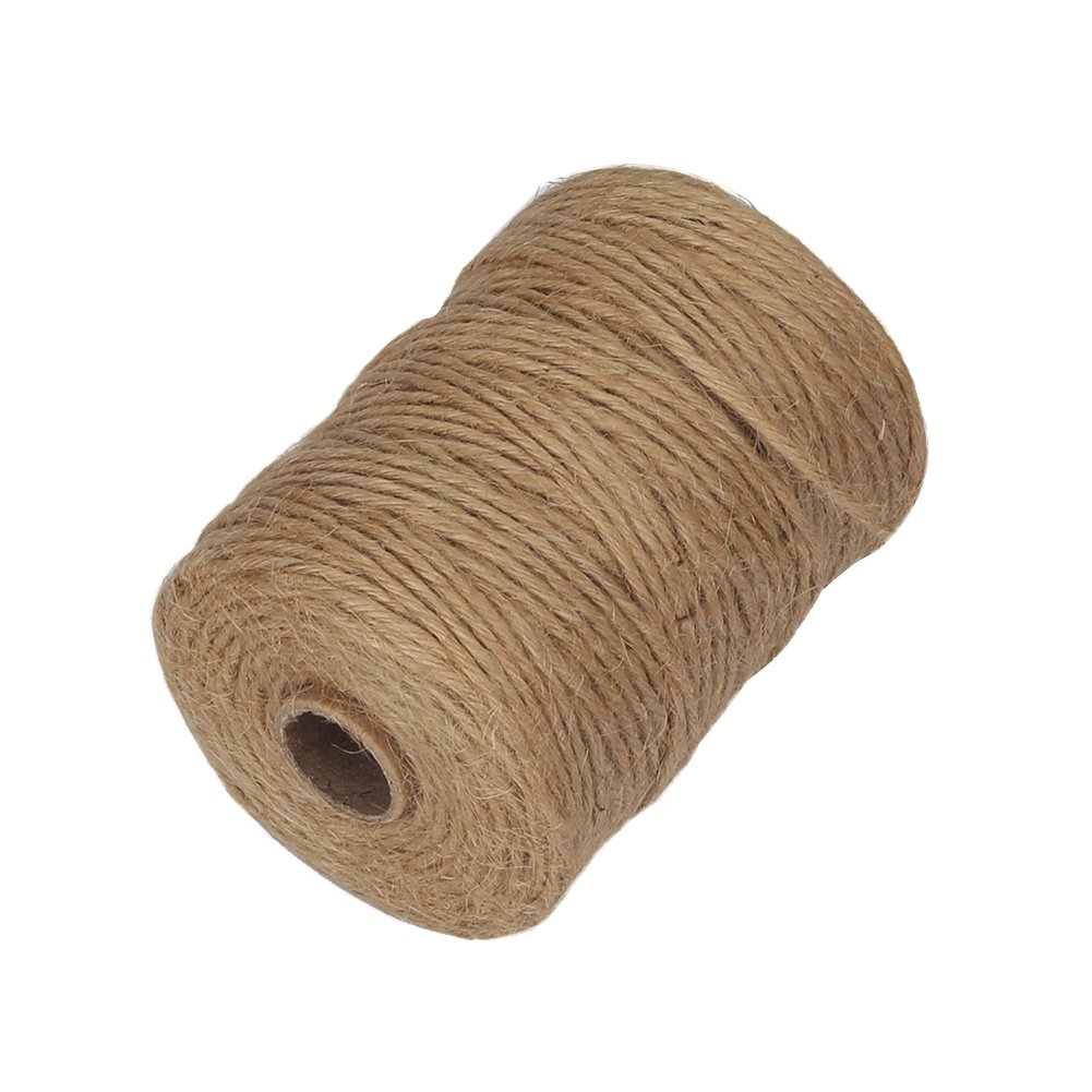 Vivifying 2.32mm 6Ply Jute Twine, 328 Feet Natural Thick Brown Twine for Garden, Gifts, Crafts