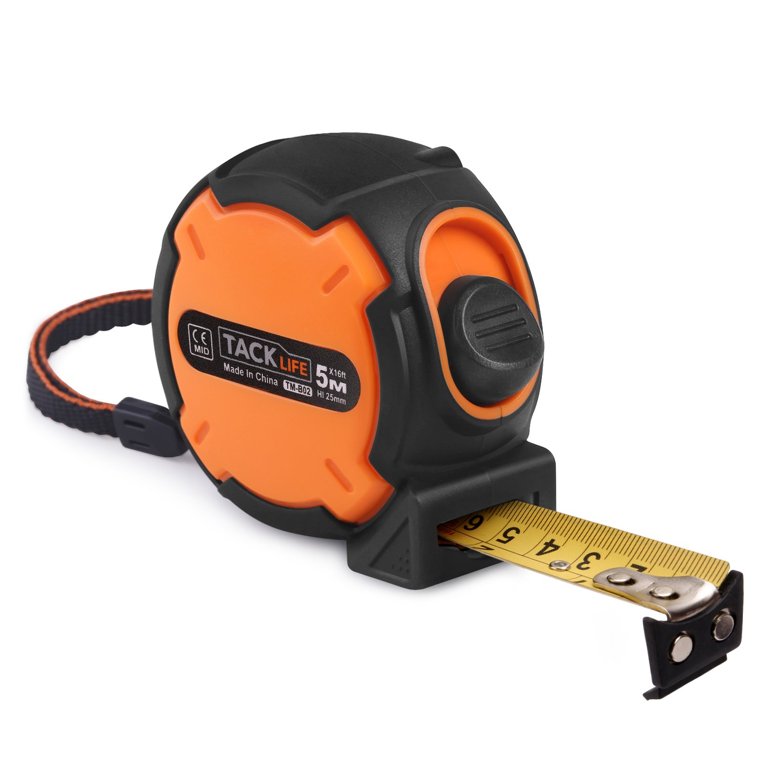 Measuring Tape 16' Tacklife TM-B02 Tape Measure Magnetic Hook Metric and Inches Retractable Measuring Tape with Wrist Strap, Nylon Coating for Construction, Home, Carpentry Measurement