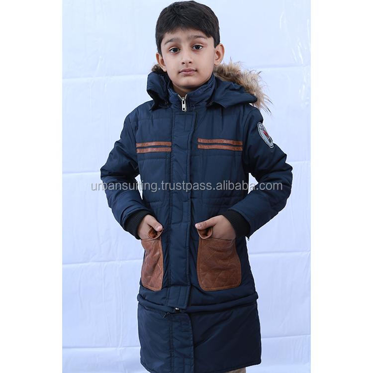 Veste blouson enfant cuir   avec capuche tissu